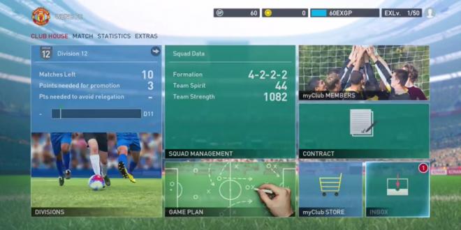 PES myClub Main Menu Screenshot