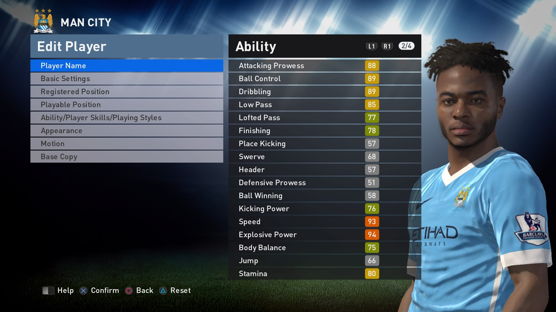 Sterling - PES 2017 Rating