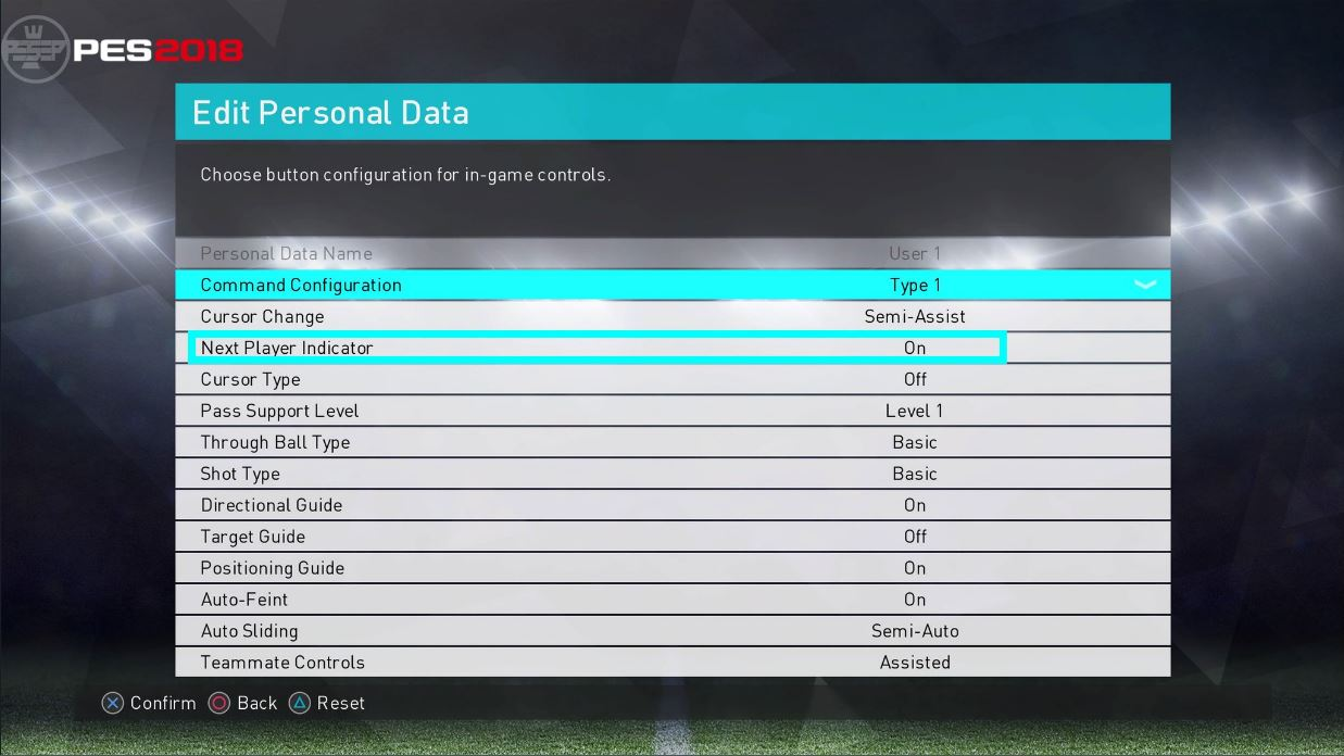 PES 2018 Next Player Indicator