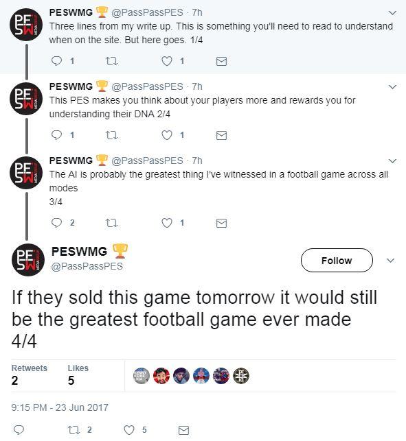 PES 2018 Tweet